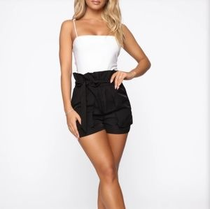 Fashion Nova paperbag high waist shorts & bodysuit